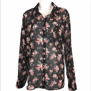 Shabby Chic Roses Shirt, size XL Juniors